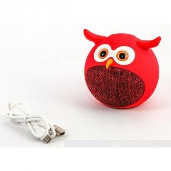 Дитяча портативна бездротова колонка Bambi сова Bluetooth MB-M916 червона (MB-M916)