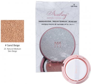 Запаска к увлажняющему кушону May Island Refill Audrey Diapearl Cushion SPF50+ PA++++ №23 Sand Beige 15 г (8809515400716)
