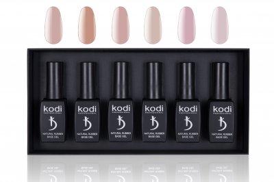 Набір баз для гель-лаку в коробці Kodi Natural Rubber Base 12 мл 6 відтінків (20071097)