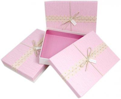 Подарункова коробка Ufo картонна 28х20х6 см Рожева (11111-002 28*20*6 PINK прям.)