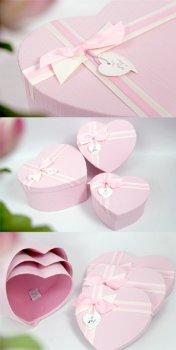 Набір подарункових коробок Ufo картонних 3 шт. Рожевих (5039-011 Набір 3 шт. PINK серд.)
