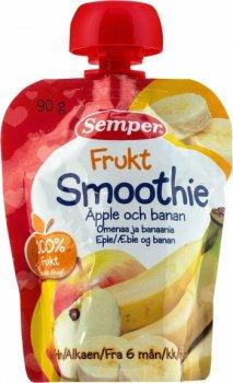 Пюре Semper Pouch Смузі з яблук і бананів, 90 г (090483)