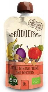 Пюре Rudolfs Pouch Смузі яблуко-банан-чорнослив з печивом, 110 г (264891)
