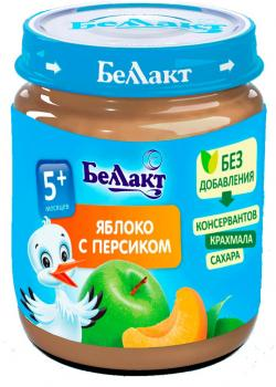 Пюре Беллакт Яблуко-персик, 100 г (250161)