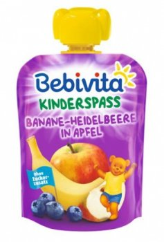Фруктове пюре Bebivita Pouch Банан-чорниця-яблуко, 90 г (111477)