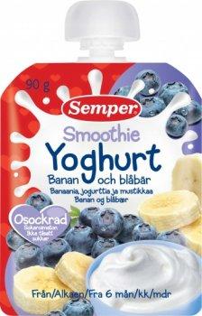 Пюре Semper Pouch Смузі з банана і чорниці з йогуртом, 90 г (090489)
