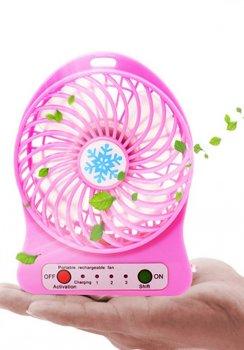 Вентилятор аккумуляторный с фонариком портативный мини-вентилятор для охлаждения воздуха Portable Fan Mini Розовый
