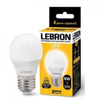 Светодиодная лампа LED 6W E27 220V G45 3000K LEBRON