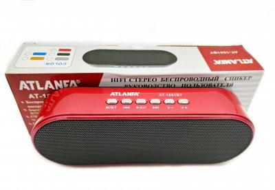Портативна бездротова Bluetooth колонка Atlanfa AT-1801BT Red з низькочастотної мембраною