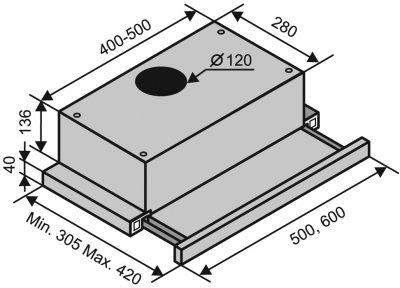 Витяжка VENTOLUX GARDA 50 WH (450)