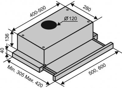 Вытяжка VENTOLUX GARDA 60 BR (450)