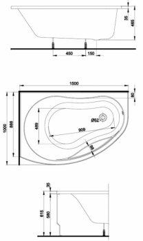 Ванна акриловая KOLO PROMISE 150х100 (XWA3051000) левосторонняя + ножки SN8/SN7