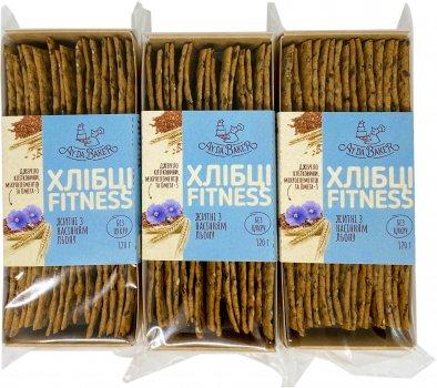 Упаковка хлебцов Ay Da Baker Фитнес Ржаные с семенами льна 120 г х 3 шт (4820204002015)