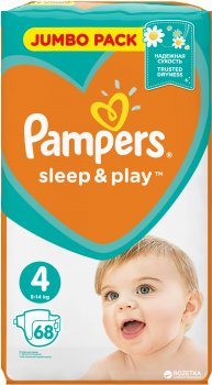Підгузки Pampers Sleep & Play Розмір 4 (Maxi) 9-14 кг 68 шт (4015400203551)