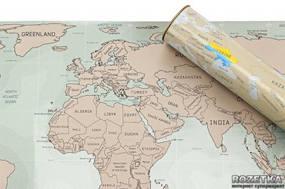 Скретч-мапа світу UFT Scratch World Map англiйською Big 88 х 52 см(uftScratchworldmap)