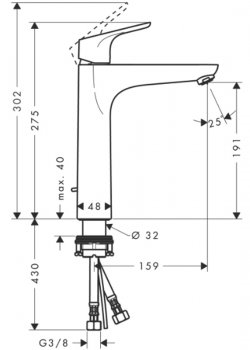 Змішувач для раковини HANSGROHE Focus ComfortZone 31608000