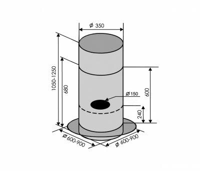 Вытяжка VENTOLUX ISOLA CILINDRO 60 GL (1200)