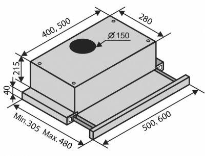 Вытяжка VENTOLUX GARDA 60 D5 X (1000) EU