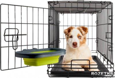 Велика складна миска з кріпленням на клітку для собак Dexas Зелена (dx30709)