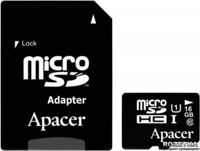 Apacer microSDHC 16GB UHS-I Class 10 + SD-adapter (AP16GMCSH10U1-R)