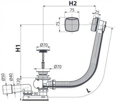 Сифон для ванны ALCA PLAST A51CRM (8594045934229)