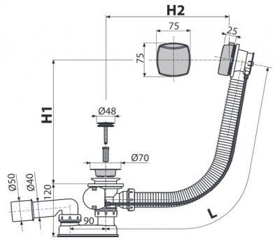 Сифон для ванны ALCA PLAST A51CR (8594045930931)