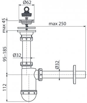 Сифон для раковины ALCA PLAST A411 (8594045937268)