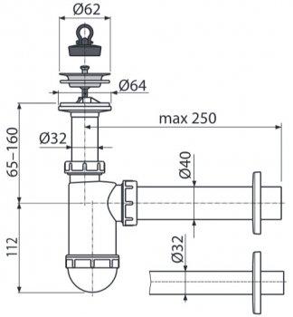 Сифон для раковины ALCA PLAST A41