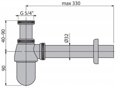 Сифон для раковины ALCA PLAST A431 (8594045930665)