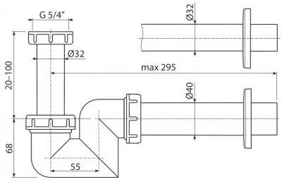 Сифон для биде ALCA PLAST A45F-DN40