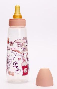 Бутылочка для кормления Lindo PK054/L с латексной соской 250 мл Розовая (8850216100542)