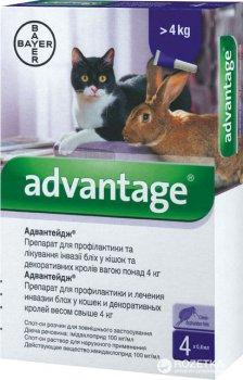 Краплі Bayer Адвантейдж 80 від заражень блохами для котів і кроликiв понад 4 кг 4 піпетки (4007221027492/4007221046394)