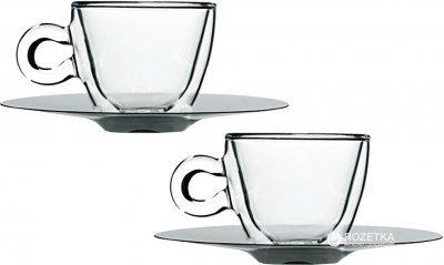 Набор чашек с блюдцеми для кави Luigi Bormioli Termic Glass 65 мл 4 предмета (10083/01)