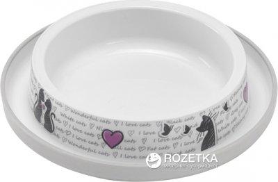 Пластиковая миска для котов Moderna Trendy Dinner Cats in Love H130027CL 15 см 210 мл белая (5412087012183)