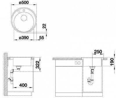 Кухонная мойка BLANCO RIONA 45 (521396) антрацит + сливной гарнитур (229362)