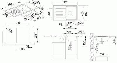 Кухонна мийка BLANCO ZIA 45 S (514726) бiлий + зливний гарнітур (222768)