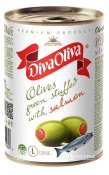 Оливки зеленые с семгой Diva Oliva 300 г (5060162902807 / 8436024291933)