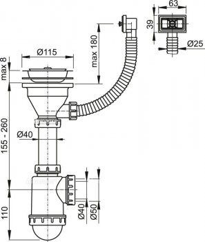 Сифон для кухонной мойки ALCA PLAST A447 (8594045936001)
