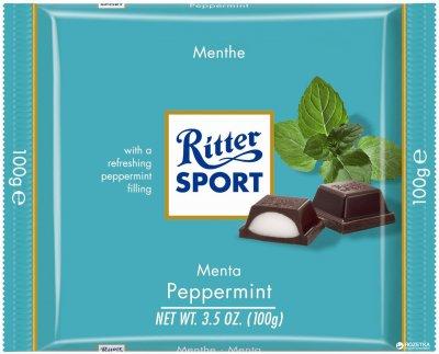 Шоколад Ritter Sport черный с мятной начинкой 100 г (4000417028006)