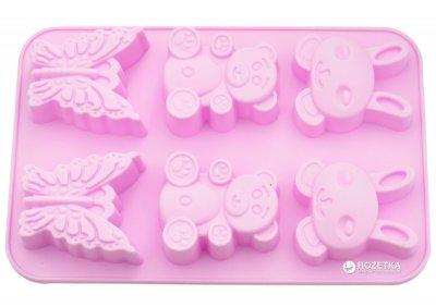 Форма для випікання 6 кексів Fissman Заєць, Ведмідь, Метелик 26 х 18.3 х 2.8 см Чайна троянда (BW-6646.6)