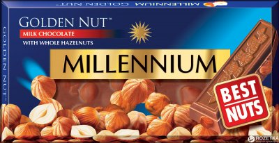 Шоколад Millennium Gold молочный с цельным фундуком 100 г (4820005193059)
