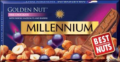 Шоколад Millennium Gold молочный с цельным фундуком и изюмом 100 г (4820005192946)