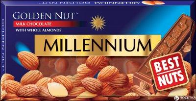 Шоколад Millennium Gold молочный с цельным миндалем 100 г (4820005194124)