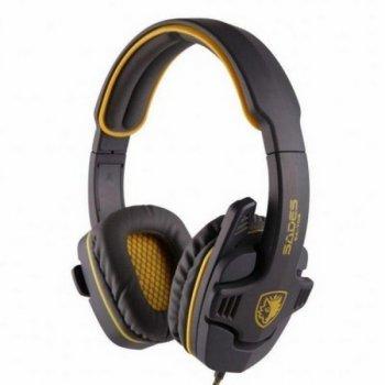 Навушники накладні (повнорозмірні) провідні з мікрофоном Sades SA-708 Stereo Gaming Headphone/Headset with Microphone Grey/Yellow (SA708-G-Y) (SA708-G