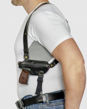 Подплечная кожаная кобура с подсумком для магазина A-LINE для ПМ черная (1КП2+)