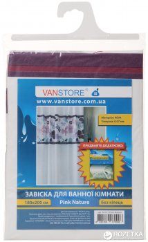 Фіранка для ванної Vanstore Pink Nature 61015 180х200