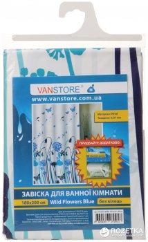 Фіранка для ванної Vanstore Wild flowers Blue 61016 180х200