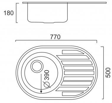 Кухонна мийка ULA 7108 ZS Satin + сифон ULA