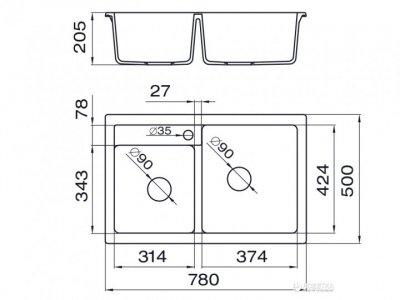 Кухонна мийка METALAC X GRANIT QUADRO PLUS 2D (171008) білий + сифон