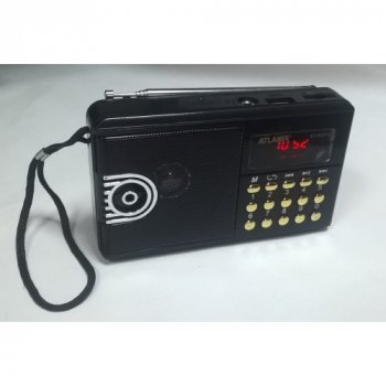 Радиоприемник ATLANFA с USB SD дисплей фонарик AT R21U FM